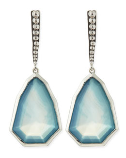Stephen Dweck Small Sterling Silver Galactical Blue Agate & Quartz Drop Earrings
