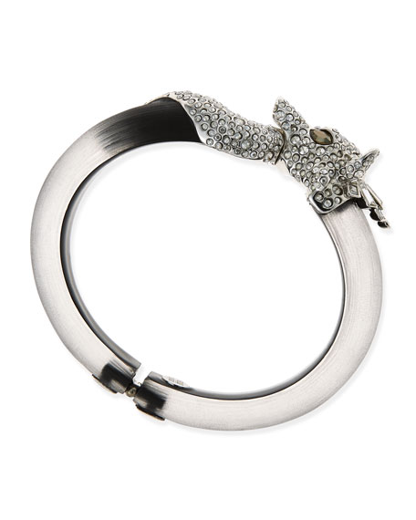 Pave Wolf Lucite Bangle, Black/Gray