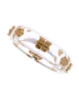 Alexis Bittar Mother-of-Pearl Studded Lucite Bracelet, Clear