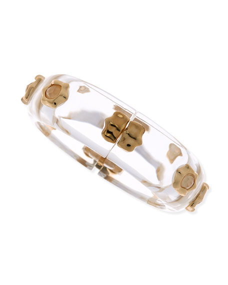 Mother-of-Pearl Studded Lucite Bracelet, Clear