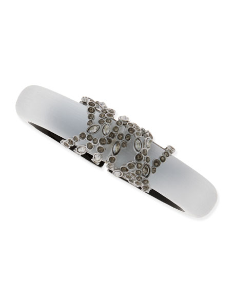 Crystal-Wrapped Lucite Bracelet, White