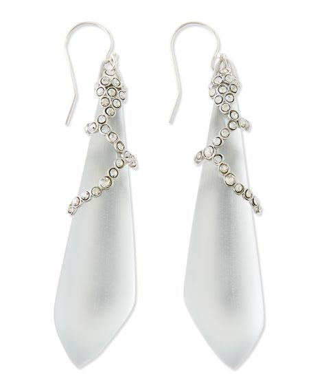 Long Crystal-Lattice Lucite Earrings, Silver