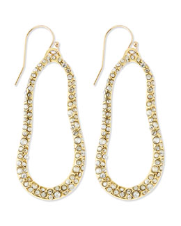 Alexis Bittar Large Golden Swarovski Crystal Oval Earrings