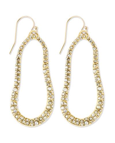 Alexis Bittar Large Golden Swarovski Crystal Oval Earrings