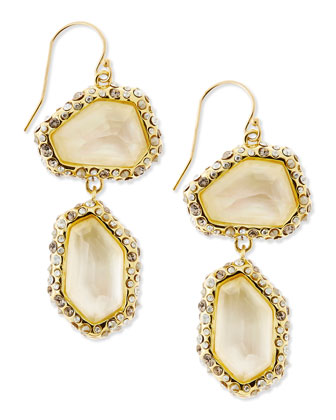 Crystal-Encrusted Mother-of-Pearl Earrings