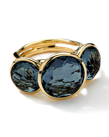 18k Gold Lollipop 3-Stone Ring, London Blue Topaz