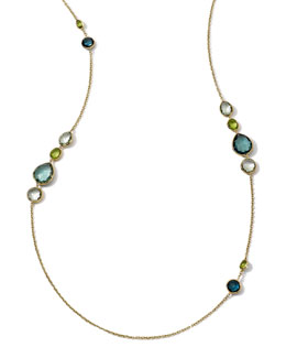 Ippolita 18k Long Multi-Stone Gelato Necklace, Tartan