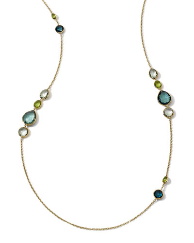 Ippolita 18k Long Multi-Stone Gelato Necklace, Tartan