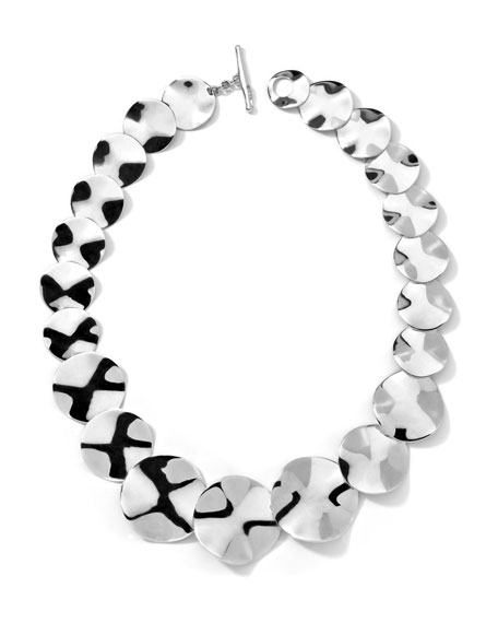 "Sterling Silver Scultura Wavy Disc Collar Necklace, 20""L"