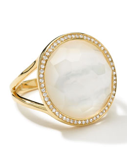 Ippolita Small Diamond-Bezel Mother-of-Pearl Lollipop Ring
