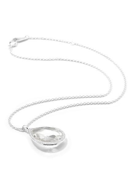 Stella Silver Medium Diamond Clear Quartz Teardrop Necklace