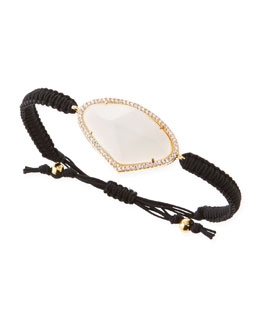 Tai Pave-Trim Moonstone-Glass Braided Cord Bracelet, Black