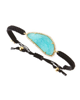 Tai G Pave-Trim Mint Crystal Braided Cord Bracelet, Black