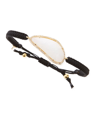 Tai G Pave-Trim Moonstone-Glass Braided Cord Bracelet, Black