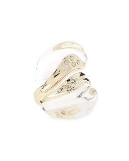 Alexis Bittar Clear Lucite Bypass Ring with Crystals