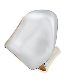 Alexis Bittar Extra Large Lucite Wave Bangle, Silver