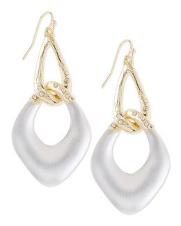 Alexis Bittar Opaque Silvery Lucite Link Earrings