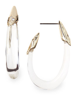 Alexis Bittar Medium Clear Lucite Hoop Earrings with Crystals