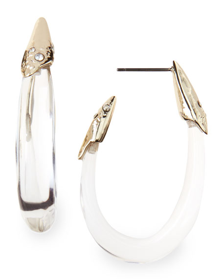 Medium Clear Lucite Hoop Earrings with Crystals
