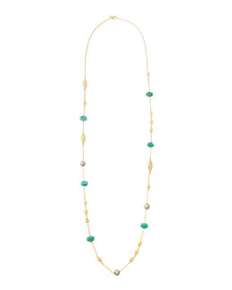 "Alexis Bittar Amazonite & Simulated Pearl Necklace, 40""L"