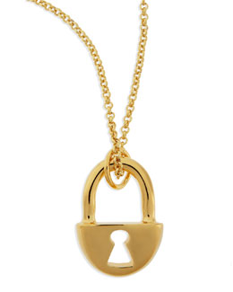 Robert Lee Morris 14k Gold-Plated Lock Pendant Necklace