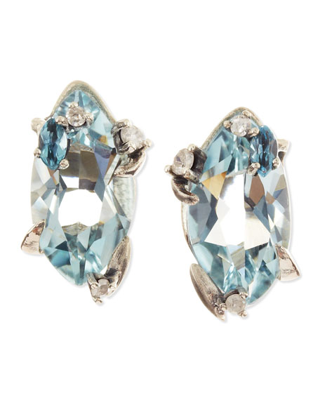 Midnight Marquise Blue Quartz Stud Earrings with Topaz & Diamonds