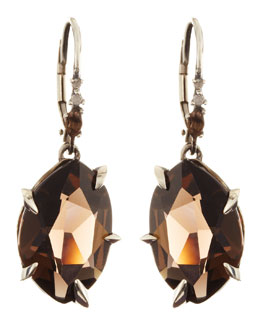 Alexis Bittar Fine Midnight Marquise Smoky Quartz Earrings with Diamonds