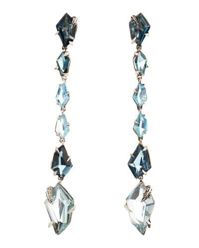 Alexis Bittar Midnight Marquise Earrings with London Blue Topaz & Quartz with Pave Diamond Prongs