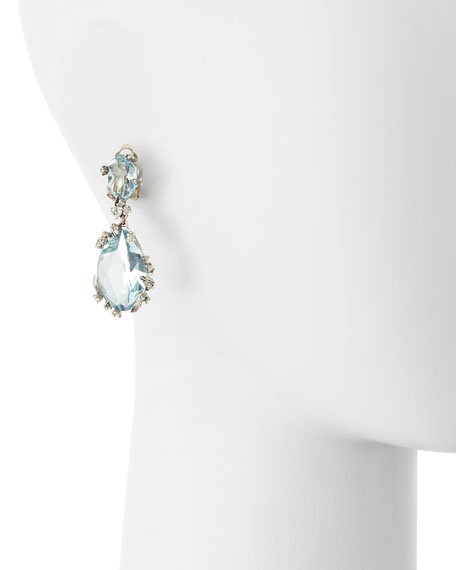 Smoky Gold Marquise 2-Drop Clip Earrings, Blue Quartz & Diamonds