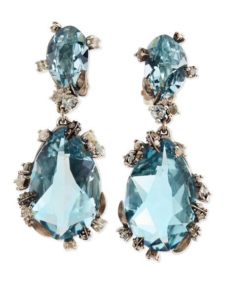 Smoky Gold Marquise 2-Drop Clip Earrings, Blue Quartz & Diamonds
