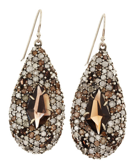Smoky Gold Marquise Teardrop Earrings, Pave Diamonds & Smoky Quartz