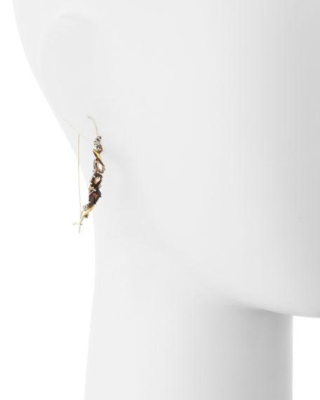 Smoky Gold Marquise Kidney Wire Earrings, Quartz & Diamonds