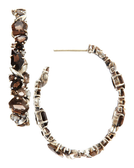 Smoky Gold Marquise Hoop Earrings, Quartz & Diamonds