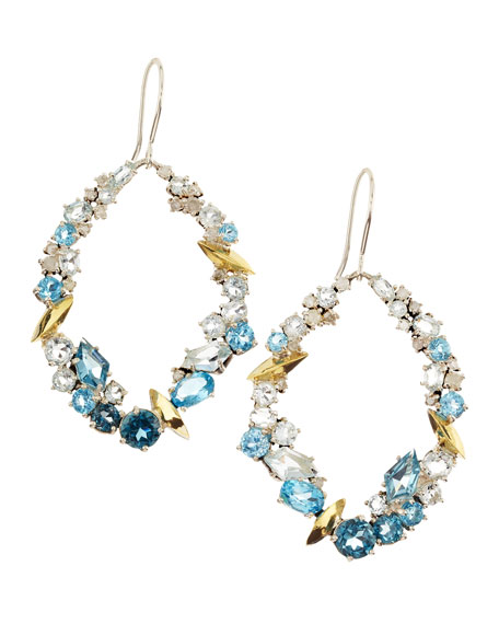 Smoky Gold Marquise Oval Earrings, Aqua Quartz, Topaz & Diamonds