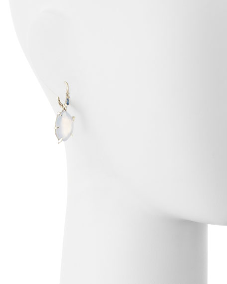 Fancy Chalcedony Drop Earrings with Sapphires & Diamonds