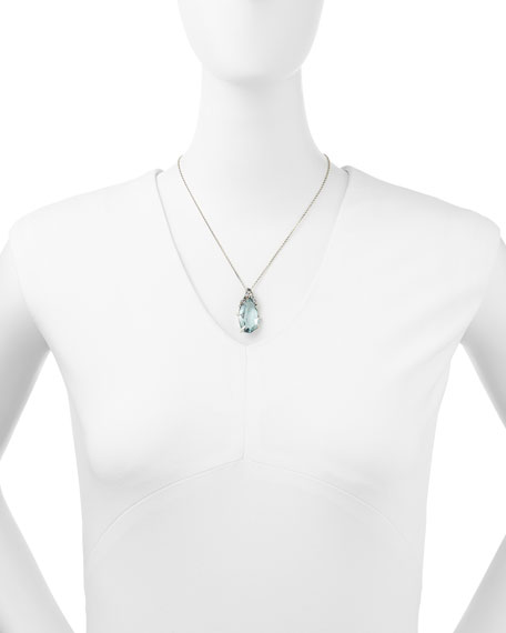 Midnight Marquise Quartz Pendant Necklace with Topaz & Diamonds
