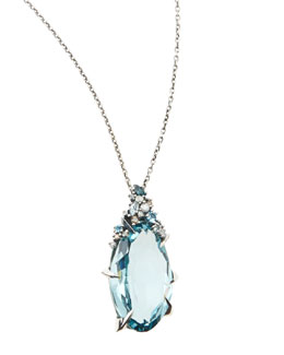 Alexis Bittar Fine Midnight Marquise Quartz Pendant Necklace with Topaz & Diamonds