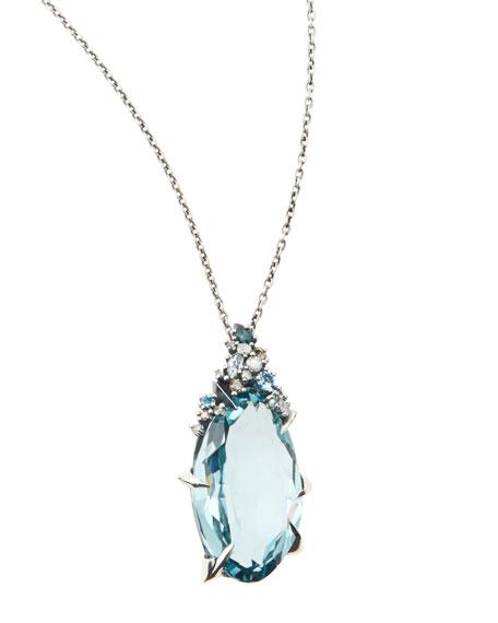 Midnight Marquise Quartz Pendant Necklace with Topaz & Diamonds