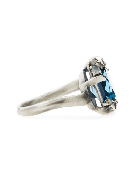 Midnight Marquise London Blue Topaz Ring with Diamonds