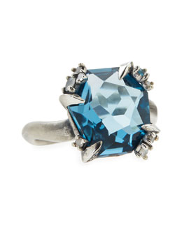 Alexis Bittar Fine Midnight Marquise London Blue Topaz Ring with Diamonds