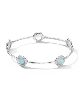 Ippolita Silver Stella 5-Stone Bangle, Blue Topaz Doublet & Diamonds