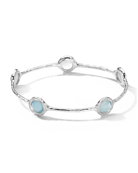 Silver Stella 5-Stone Bangle, Blue Topaz Doublet & Diamonds