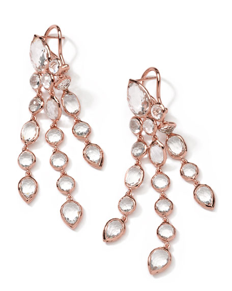 Long Rose Gold Clear Quartz Cascade Earrings