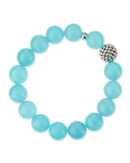 Lagos 14mm Caviar-Ball Blue Chalcedony Beaded Stretch Bracelet