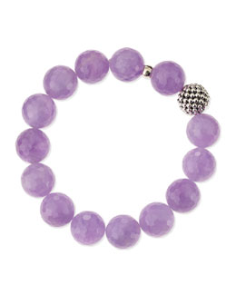 Lagos 14mm Caviar-Ball Cape Amethyst Beaded Stretch Bracelet