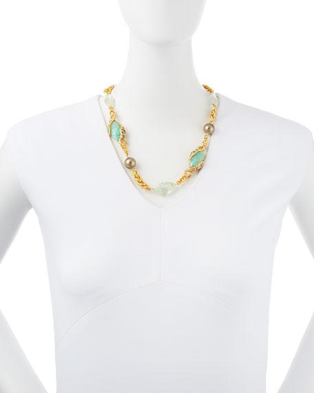 Single-Strand Multi-Stone Golden Chain-Link Necklace