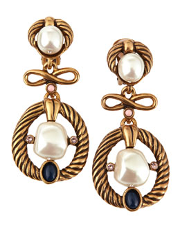 Oscar de la Renta Pearl Bead & Cabochon Clip Earrings