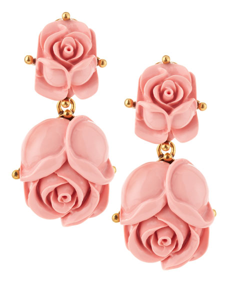 Double Rose Clip-On Earrings, Blush
