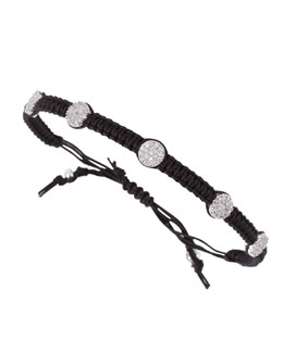 Tai Pave Nailhead Studded Braided Bracelet, Black
