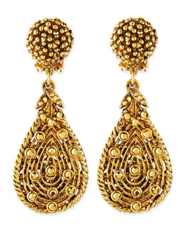 Jose & Maria Barrera Golden Crystal Teardrop Clip-On Earrings